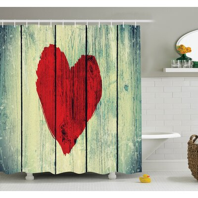 Love Romantic Rustic Wooden Shower Curtain Set Size: 84 H x 69 W