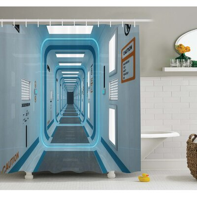 Outer Space Galactic Hallway with Caution Signs Discovery UFO Invasion Print Artwork Shower Curtain Set Size: 70 H x 69 W