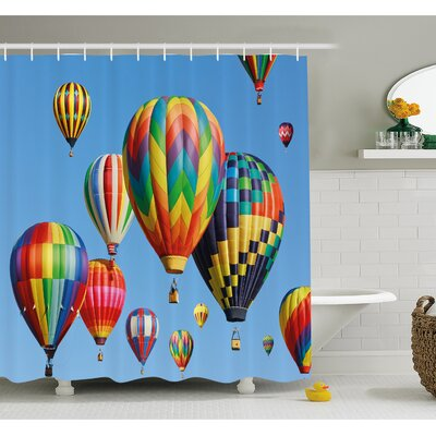 Nostalgic Hot Air Balloons in Sky Flying Journey Shower Curtain Set Size: 70 H x 69 W