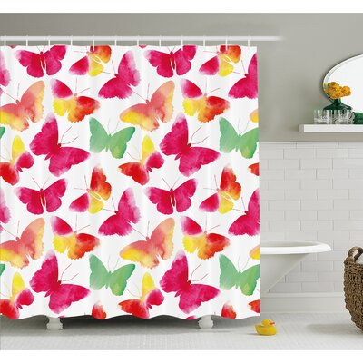 Watercolor Butterflies with Large Colored Wings Spirit Shower Curtain Set Size: 75 H x 69 W