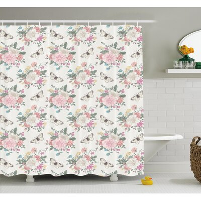 Peonies Sweet Peas Roses Bouquet and Butterflies Pastel Tones Bridal Theme Shower Curtain Set Size: 75 H x 69 W