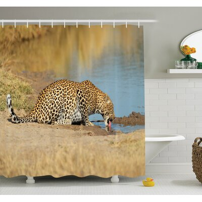 Animal Leopard in Africa Shower Curtain Set Size: 84 H x 69 W