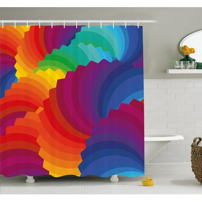 Gradient Dash Sea Shell Inspired Wavy Dimension Palette Stripes Artisan Shower Curtain Set Size: 70 H x 69 W