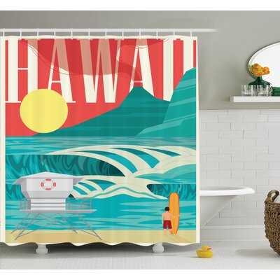 Tropical Hawaii Holiday Coast Shower Curtain Set Size: 75 H x 69 W