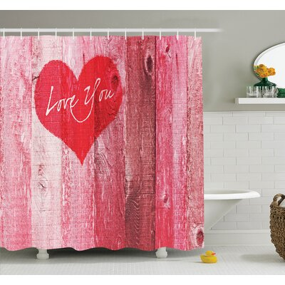 Lucio Heart on Rustic Wooden Shower Curtain Set Size: 70 H x 69 W
