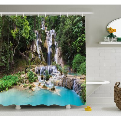 Waterfall in Corner of Lake in Laos Surrounded by the Vietnamese Trees Shower Curtain Set Size: 75 H x 69 W