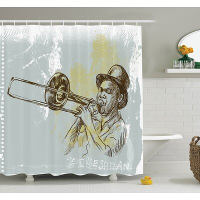 Music Trumpet Player Jazz Art Shower Curtain Set Size: 70 H x 69 W