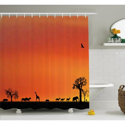 Wildlife Panorama of Safari Animals Gulls Reflections in Background at Sunset Shower Curtain Set Size: 70 H x 69 W