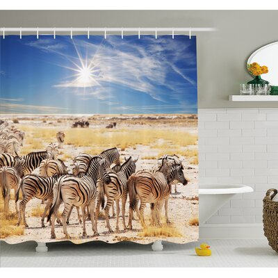Wildlife Zebras in Savannah Desert Waterhole on Hot Day Africa Safari Adventure Land Print Shower Curtain Set Size: 84 H x 69 W