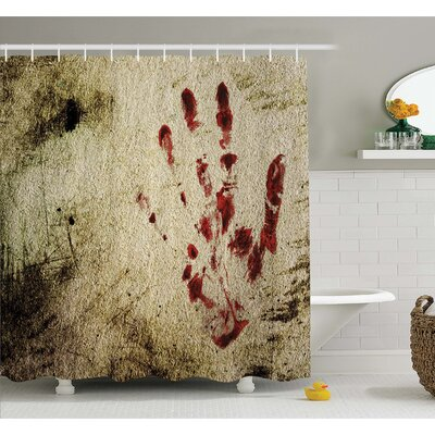 Horror House Grunge Dirty Wall with Bloody Hand Print Murky Palm Trace Victim Violence Shower Curtain Set Size: 70 H x 69 W