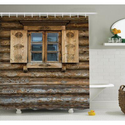 Wooden Cottage Shutter Shower Curtain Set Size: 70 H x 69 W