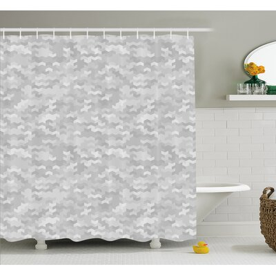 Puzzle Like Pattern with Symmetric Fractal Pieces in Smokey Tones Modern Illustration Shower Curtain Set Size: 75 H x 69 W
