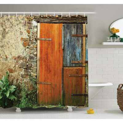 Old French Wooden Door Shower Curtain Set Size: 84 H x 69 W