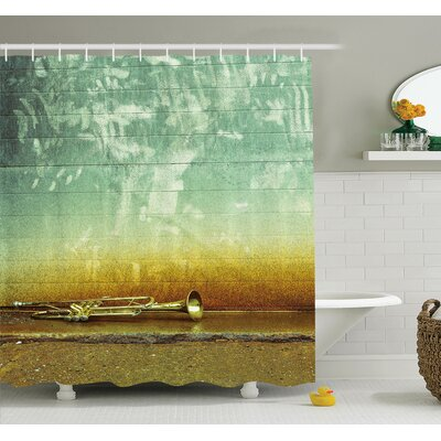 Music Worn Trumpet Jazz Shower Curtain Set Size: 70 H x 69 W