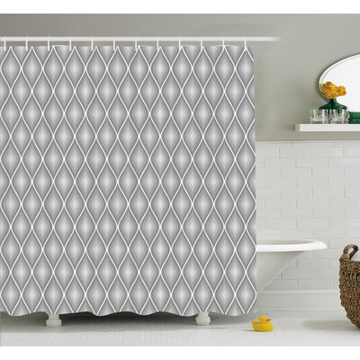 Rhombus Forms in Victorian Stylized Authentic Dual Linked Bound Interior Angle Shapes Shower Curtain Set Size: 84 H x 69 W