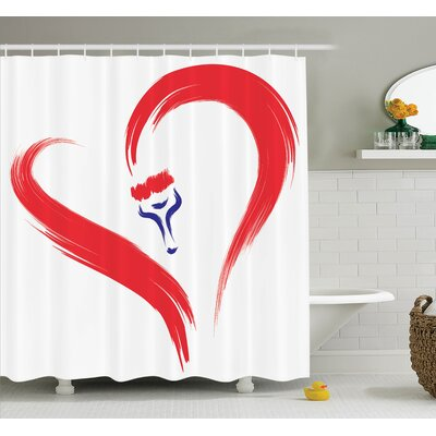 Love Brush Drawing Heart Sign Shower Curtain Set Size: 70 H x 69 W