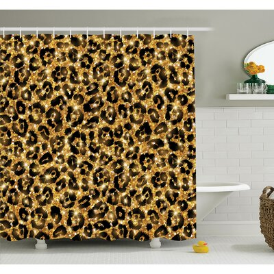 Animal Leopard Pattern Shower Curtain Set Size: 70 H x 69 W