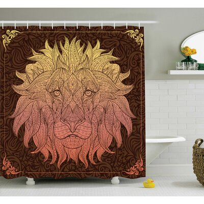 Joellen Lion Floral Art Shower Curtain Set Size: 84 H x 69 W