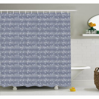 Piano Music Clay Motif with Various Notes Symbols Beat Melody Rhythm Harmony Jazz Shower Curtain Set Size: 70 H x 69 W