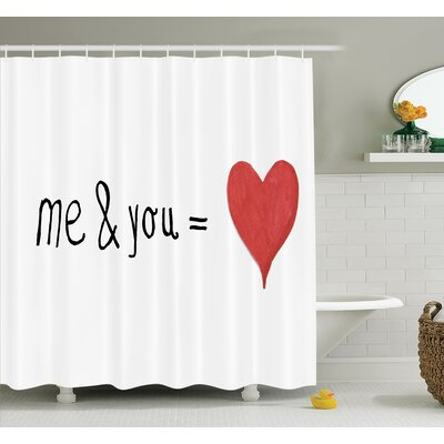 Love Quote Affection Romance Shower Curtain Set Size: 84 H x 69 W