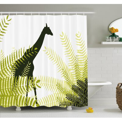 Wildlife Silhouette of Giraffe in Ferns National Park Terrestrial Tall Animal Print Shower Curtain Set Size: 75