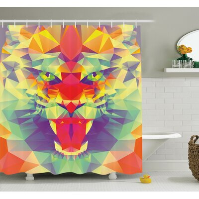Abstract Art King of Jungle Shower Curtain Set Size: 70