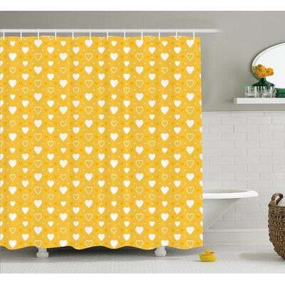 Full and Empty Heart Shapes with Little Dots and Tiny Cute Hearts Pattern Shower Curtain Set Size: 75 H x 69 W