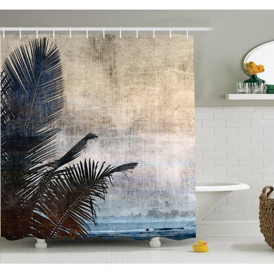 Tropical Grunge Palm Trees Art Shower Curtain Set Size: 70 H x 69 W