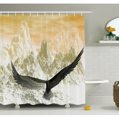 Carylon Eagle Flying Mountains Shower Curtain Set Size: 84 H x 69 W