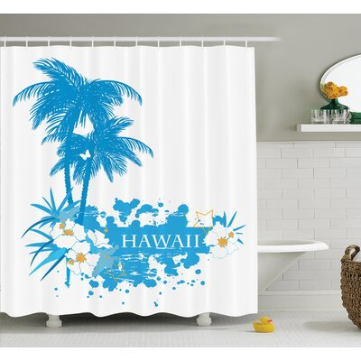 Tropical Hawaiian Island Shower Curtain Set Size: 70 H x 69 W