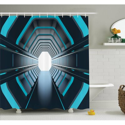 Outer Space Tunnel with Neon Lights Passage Mercury Lunar Orbit Inspired Stardust Art Shower Curtain Set Size: 75 H x 69 W