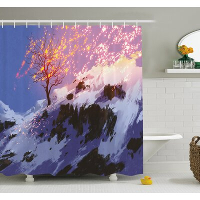 Magical Landscape with Showing Bare Tree in Winter Valley with Snow Shower Curtain Set Size: 70