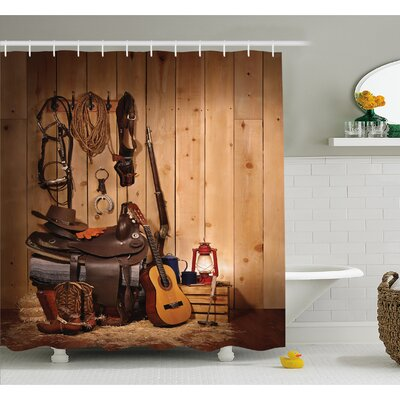 Western American Texas Style Country Music Guitar Cowboy Boots Folk Culture Shower Curtain Set Size: 75 H x 69 W