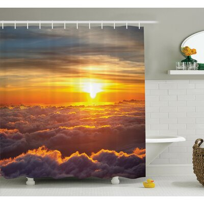 Nature Sunset Scene on Clouds Shower Curtain Set Size: 70 H x 69 W