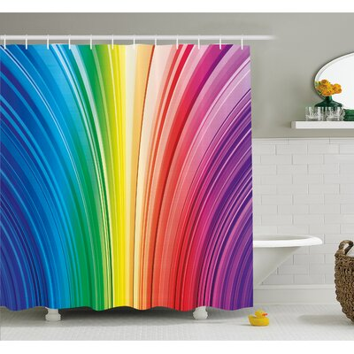 Psychedelic Warped Contour Stripes Dynamic Motion Modern Artwork Shower Curtain Set Size: 70 H x 69 W