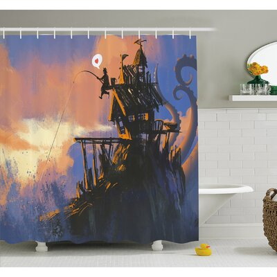 Fisherman Sitting on the Castle Standing over Rocky Cliffs Haunted Paint Shower Curtain Set Size: 70 H x 69 W