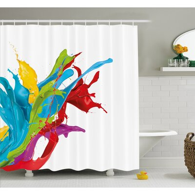 Surreal Fluid Liquid Flowing Paint Splash Featured Digital Artful Graphic Shower Curtain Set Size: 75 H x 69 W