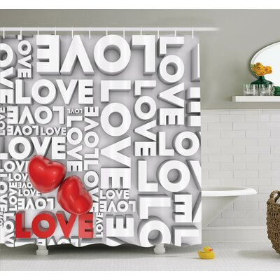 Love Valentines Romance Art Shower Curtain Set Size: 75 H x 69 W