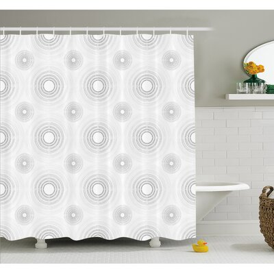 Spiral Contoured Diagonal Circular Small and Large Lines Gradient Sketchy Design Shower Curtain Set Size: 75 H x 69 W