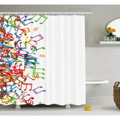 Trippy Style Music Notes with Clef Rhythm Tempo Melody Harmony Print Shower Curtain Set Size: 75 H x 69 W