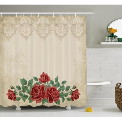 Vintage Glamour Background with Rose Love and Attraction Shower Curtain Set Size: 70 H x 69 W