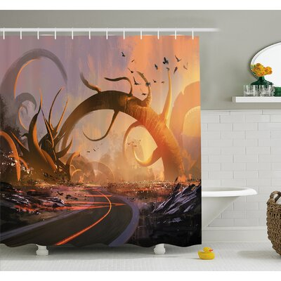 Fantasy Art House Fairy Fiction Design with Mystic Twisted Branches on Highway Sunset Shower Curtain Set Size: 75 H x 69 W