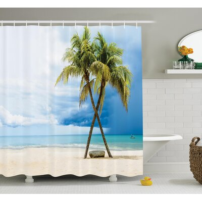 Tropical Beach Palm Trees Rock Shower Curtain Set Size: 70 H x 69 W