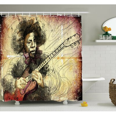 Music Guitar Player Artwork Shower Curtain Set Size: 70 H x 69 W