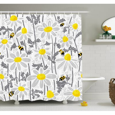 Daisy Flowers with Bees in Spring Time Honey Petals Floret Nature Purity Bloom Shower Curtain Set Size: 75 H x 69 W