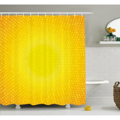 Illustration Artwork with Circle in Shades of Dots Shower Curtain Set Size: 84 H x 69 W