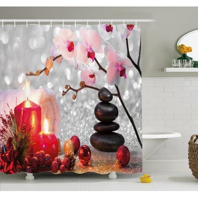 Spa Winter Christmas Theme with Orchid Stone and Candles Image Shower Curtain Set Size: 75 H x 69 W