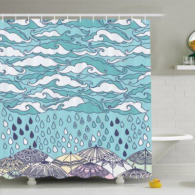 Home Funky Overcast Cumulus Clouds Like Sea Wave Floating Umbrella Shower Curtain Set Size: 70 H x 69 W