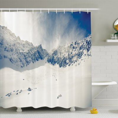 Winter Fantasy Lands on Top of the World with Snowy Cliffs and Stones Alps Decor Shower Curtain Set Size: 84