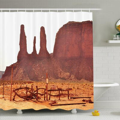 House Scenic Archaic Monument Valley on Western Desert Odd Formation of Rock and Cliff Print Shower Curtain Set Size: 84 H x 69 W